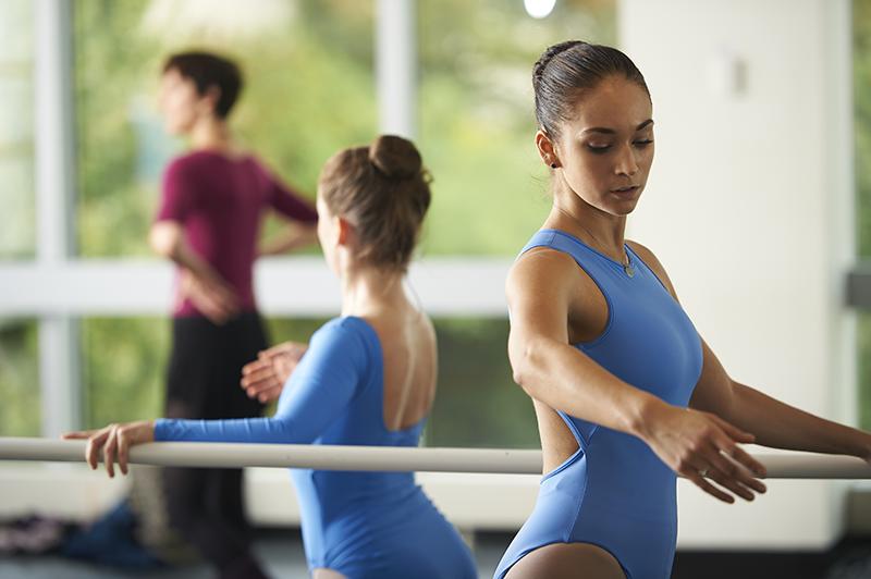 Adelphi dancer in ballet class